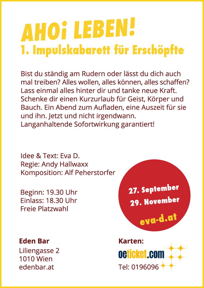 Eva D. - AHOI LEBEN! 1. Impulskabarett für Erschöpfte - Eden Bar Wien